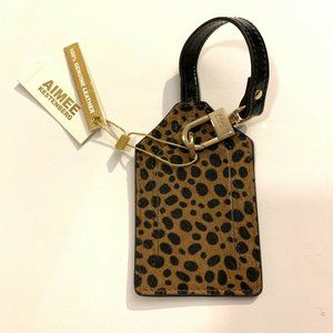 NWT! AIMEE KESTENBERG CALF HAIR LUGGAGE TAG CHEETA